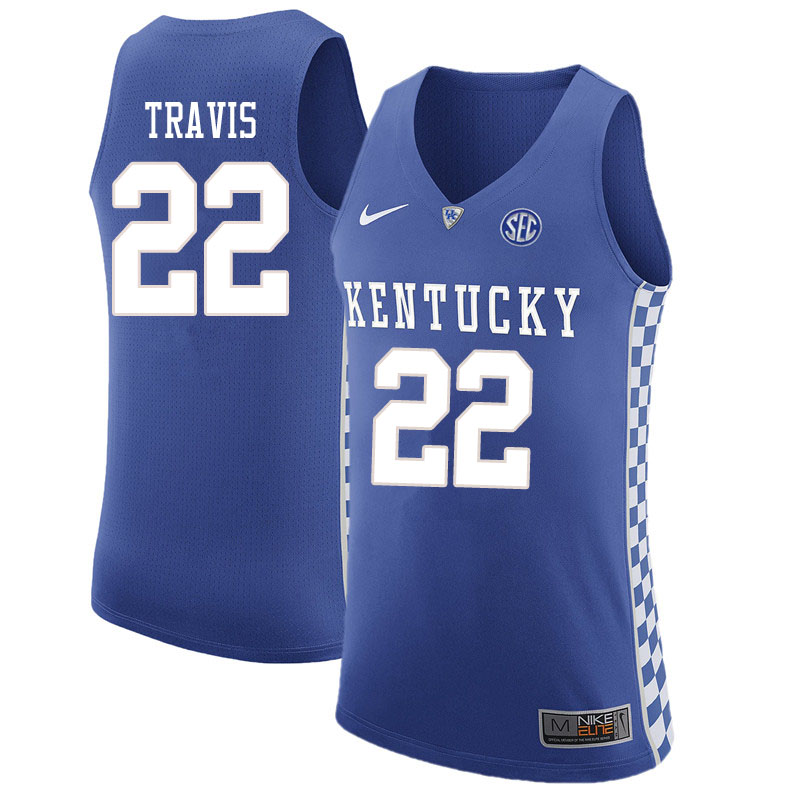 Men #22 Reid Travis Kentucky Wildcats College Basketball Jersyes Sale-Blue