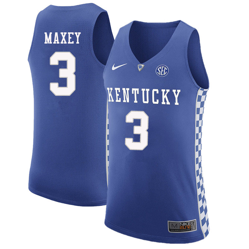 Men #3 Tyrese Maxey Kentucky Wildcats College Basketball Jerseys Sale-Blue