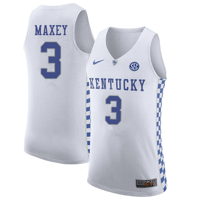 Men #3 Tyrese Maxey Kentucky Wildcats College Basketball Jerseys Sale-White
