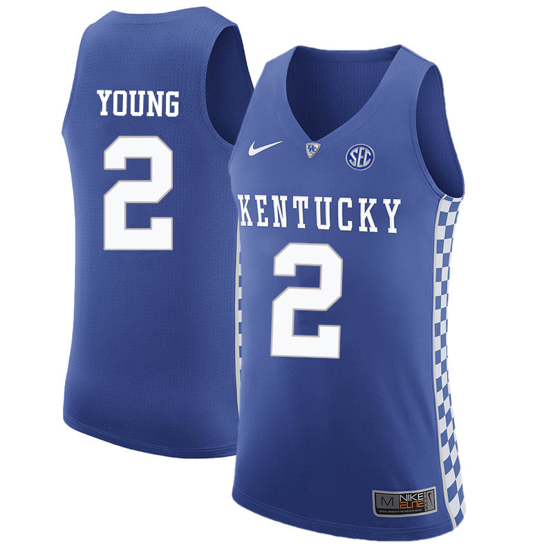 Men Kentucky Wildcats #2 Aaron Harrison College Basketball Jerseys-Blue