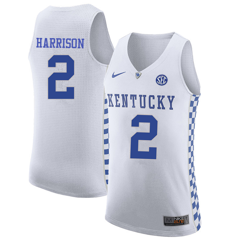 Men Kentucky Wildcats #2 Aaron Harrison College Basketball Jerseys-White