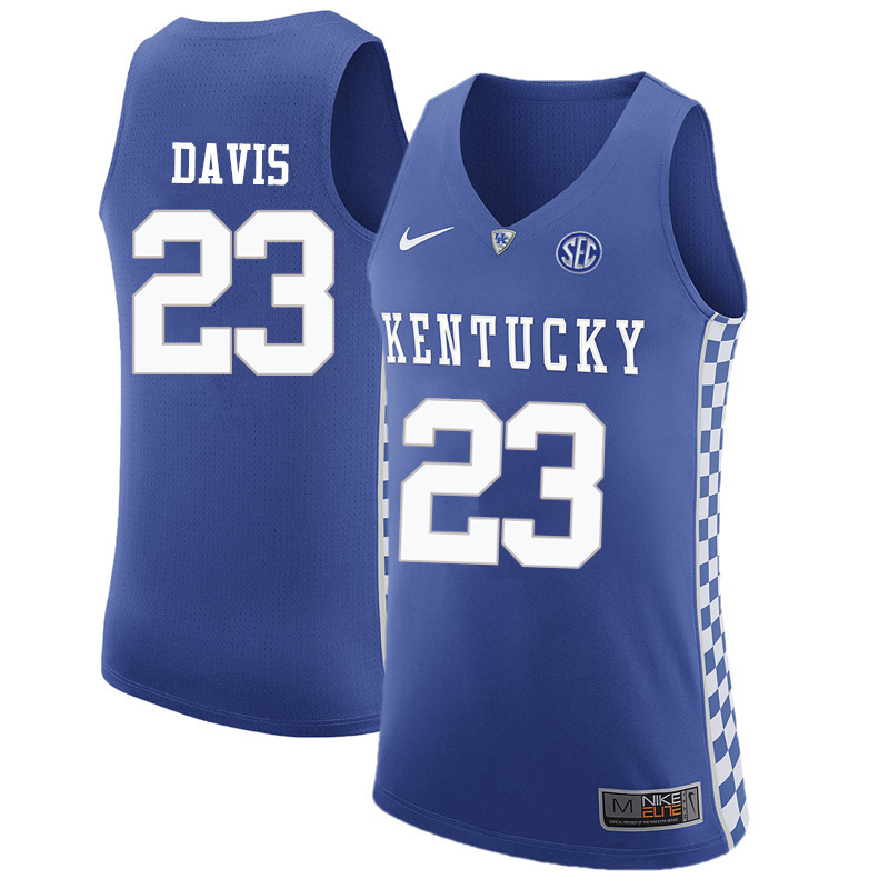 Men Kentucky Wildcats #23 Anthony Davis College Basketball Jerseys-Blue