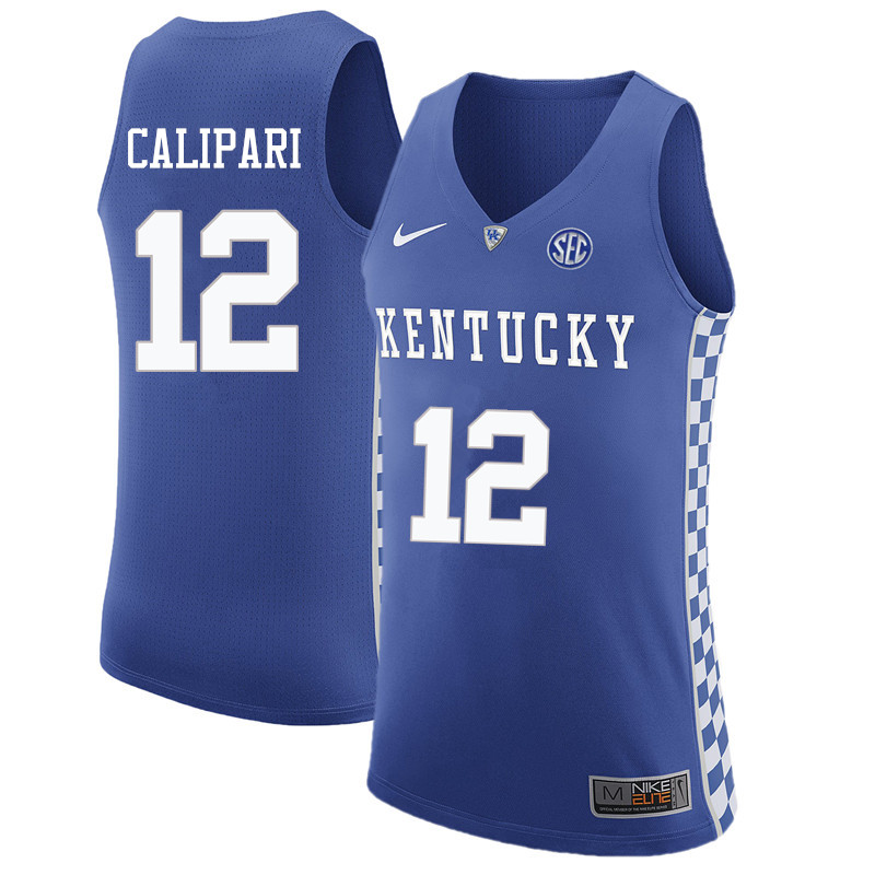 Men Kentucky Wildcats #12 Brad Calipari College Basketball Jerseys Sale-Blue