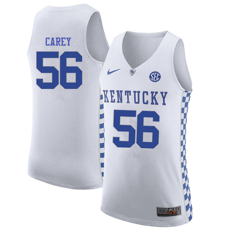 Men Kentucky Wildcats #56 Burgess Carey College Basketball Jerseys-White