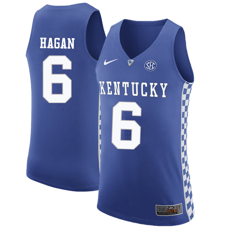 Men Kentucky Wildcats #6 Cliff Hagan College Basketball Jerseys-Blue