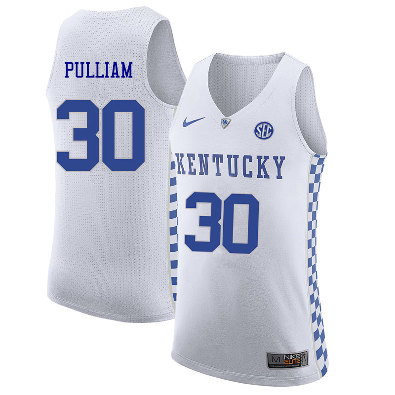 Men Kentucky Wildcats #30 Dillon Pulliam College Basketball Jerseys Sale-White