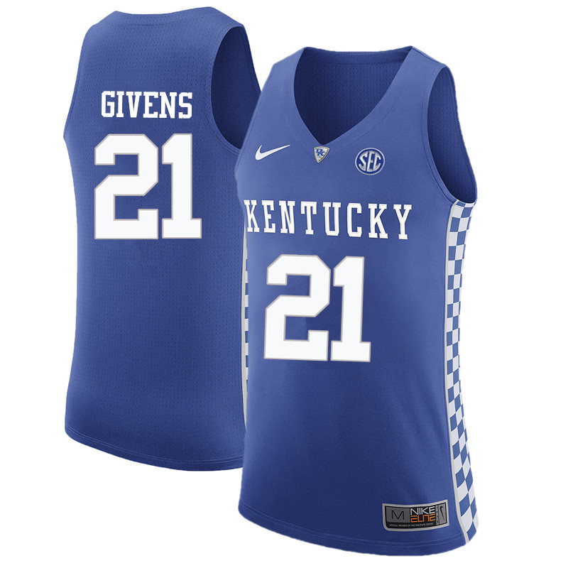 Men Kentucky Wildcats #21 Jack Givens College Basketball Jerseys-Blue
