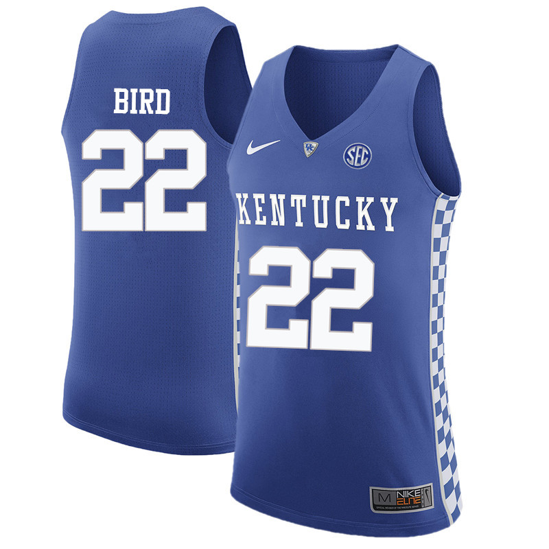 Men Kentucky Wildcats #22 Jerry Bird College Basketball Jerseys-Blue