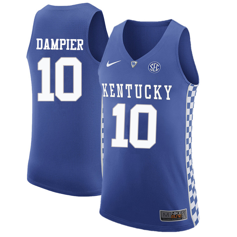 Men Kentucky Wildcats #10 Louie Dampier College Basketball Jerseys-Blue