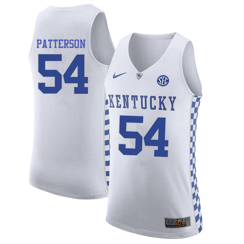 Men Kentucky Wildcats #54 Patrick Patterson College Basketball Jerseys-White