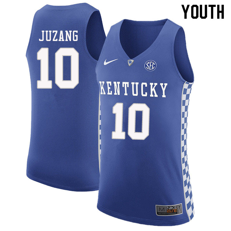 Youth #10 Johnny Juzang Kentucky Wildcats College Basketball Jerseys Sale-Blue