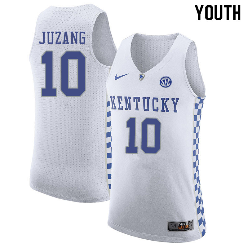 Youth #10 Johnny Juzang Kentucky Wildcats College Basketball Jerseys Sale-White