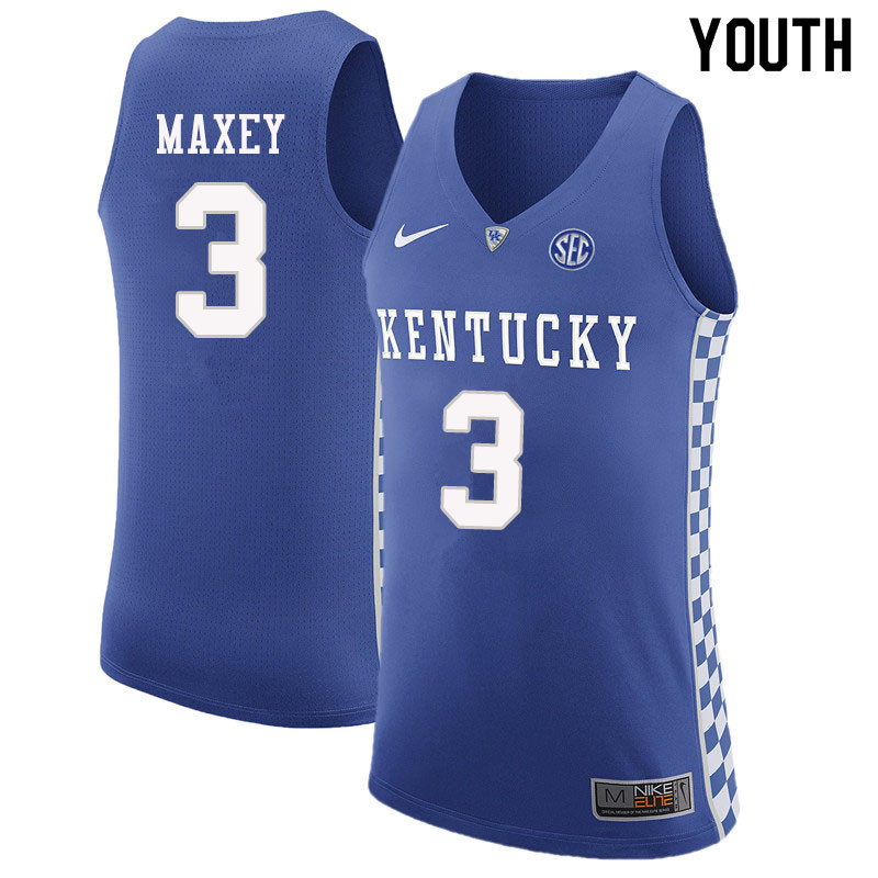 Youth #3 Tyrese Maxey Kentucky Wildcats College Basketball Jerseys Sale-Blue