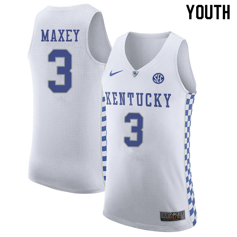 Youth #3 Tyrese Maxey Kentucky Wildcats College Basketball Jerseys Sale-White