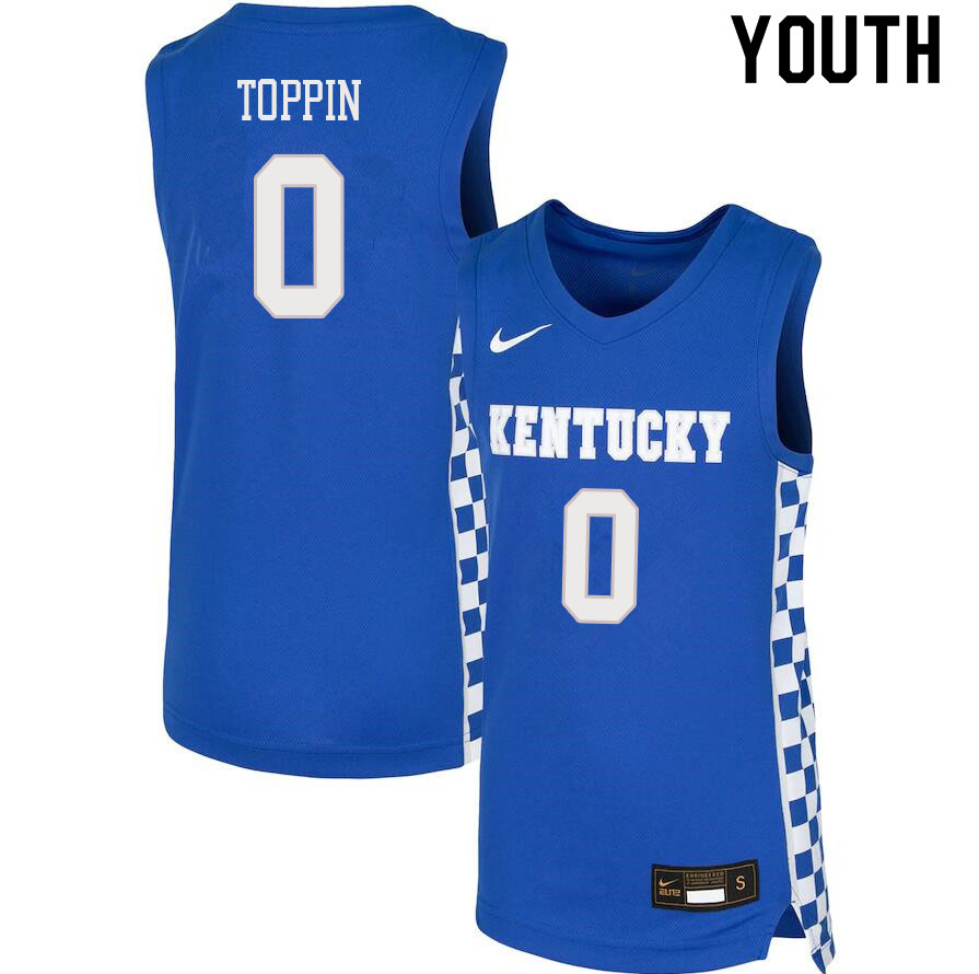 Youth #0 Jacob Toppin Kentucky Wildcats College Basketball Jerseys Sale-Blue